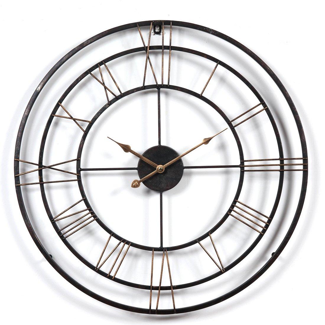 Orologio da parete grande XXL dei Los, CT della Tribù grosse XXL Metallo Ø60cm Orologio soggiorno orologio da parete Vintage Panoramica senza tickge raeusche CT-Tribe