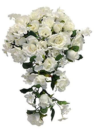 Amazon.com: Ivory Roses Bridal Bouquet Cascading Style Silk Flowers ...