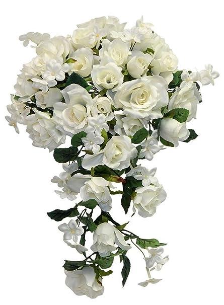 Ivory roses bridal bouquet cascading style silk flowers wedding ivory roses bridal bouquet cascading style silk flowers wedding centerpieces junglespirit Images
