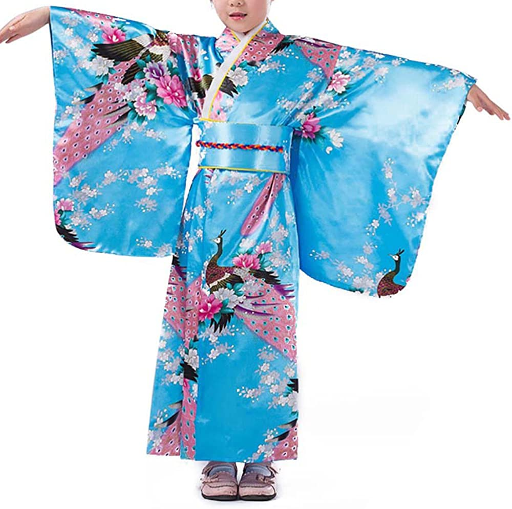 Girls Kimono Costume Japanese Asian Top Dress Robe Sash Belt Fan Set Outfit