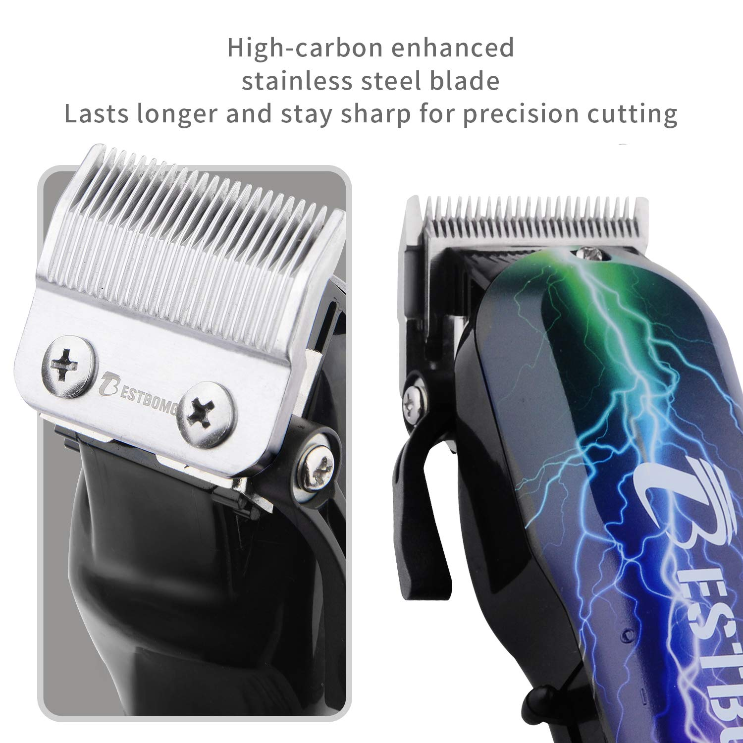 Professional Hair Clippers for Men BESTBOMG Rechargeable Cordless Hair Cutting Kit Home Barber Hair Trimmer with Precision Blades Heavy Duty and 2000mAh (black/red)