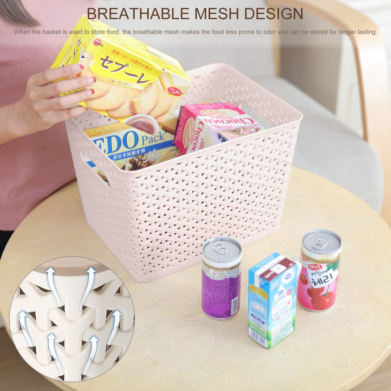 SortWise 4 Pack Multi-Purpose Plastic Weave Laundry Basket Hamper Dirty Clothes Storage Bin Bedroom Storage Tote Khaki 23-Quart