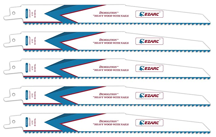 EZARC Reciprocating Saw Blade Heavy Wood Demolition 9-Inch 6TPI R936DV (5-Pack)