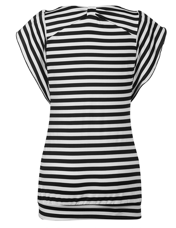 59489902b4f Hersife Womens Bat Sleeve Striped Shirt Summer Banded Bottom Tops Long  Blouses at Amazon Women s Clothing store