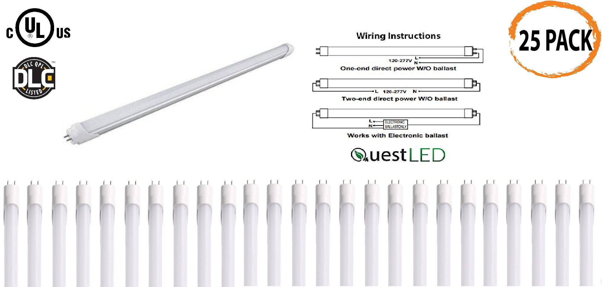 LED T8, T10, T12 Tube Light 4FT; 15W (36w Equivalent) 120-277V, Works WITH or WITHOUT Ballast, Single or Double Ended Powered; 1,950 Lumens; UL/DLC (Warm White 3000K)- 25 PACK