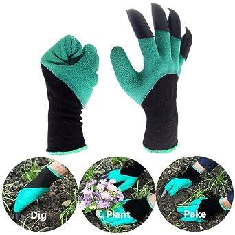 Guantes genios de jardín - Guantes de jardín unisex con garras de dedos resistentes en la mano derecha para cavar y plantar: Amazon.es: Industria, empresas y ciencia