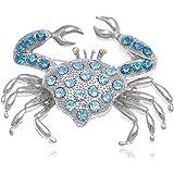 Alilang Silvery Tone Rhinestones Nautical Ocean Sea Crab Brooch Pin