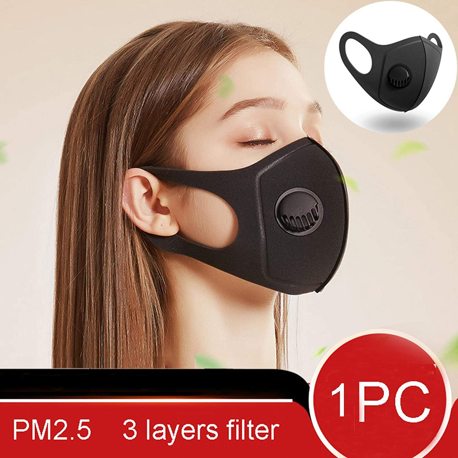 LALALY 1pcs Reusable Cover with Breathing Valve Adjustable and washable Face Safety Bandanas Breathable Guard Nose Industrial 3-Ply Ear Loop Dust Windproof Cover