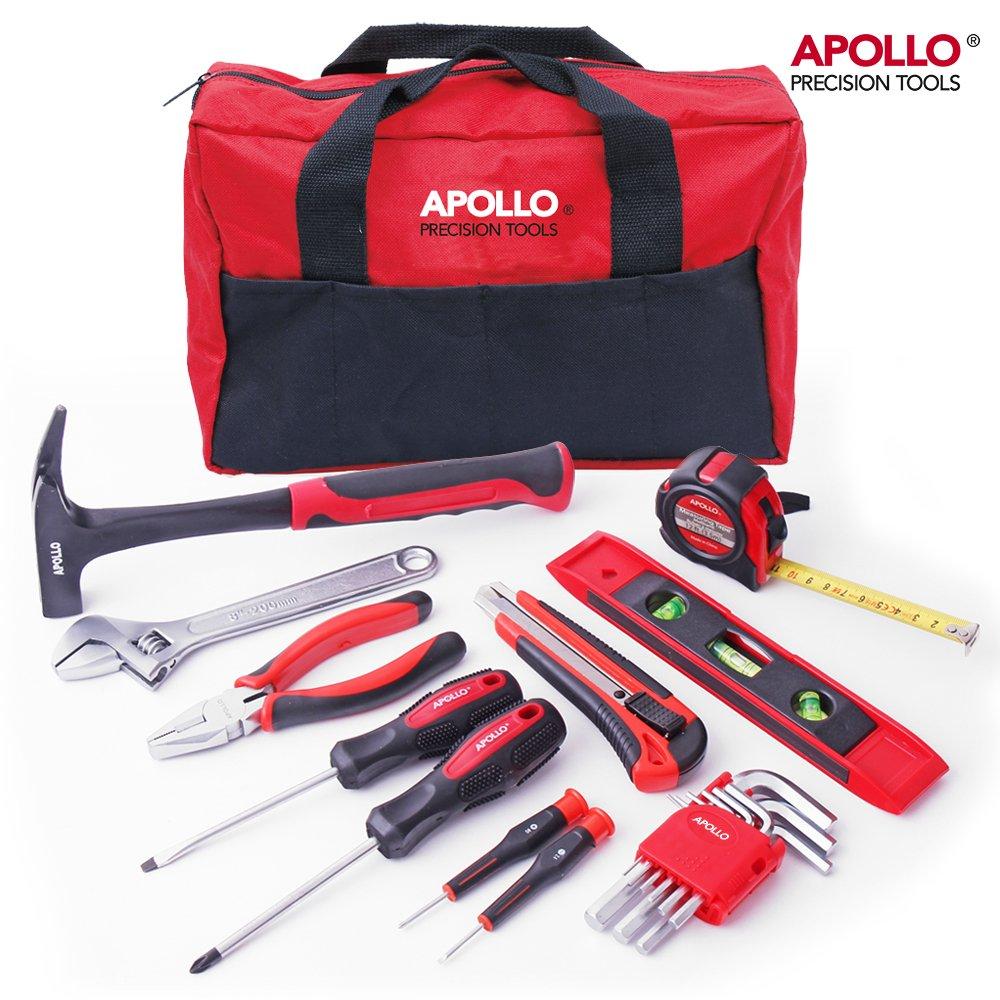 Set d' Outils de Bricolage pour Maison Apollo 18 Piè ces avec des Outils Ré sistants dans un Sac de Rangement Facile Apollo Precision Tools