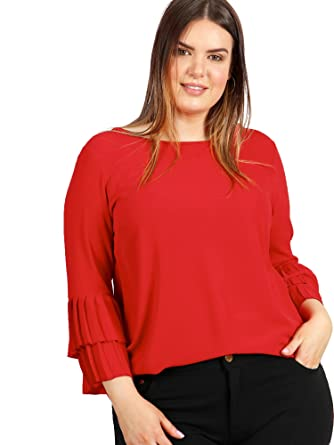 901b01495627b Lovedrobe GB Women s Plus Size Red Top with Pleated Double Layer Cuffs ...