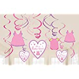 """Delightful Shower with Love - Girl Value Pack of Swirl Baby Shower Party Decorations, 7"""", Pack of 12."""