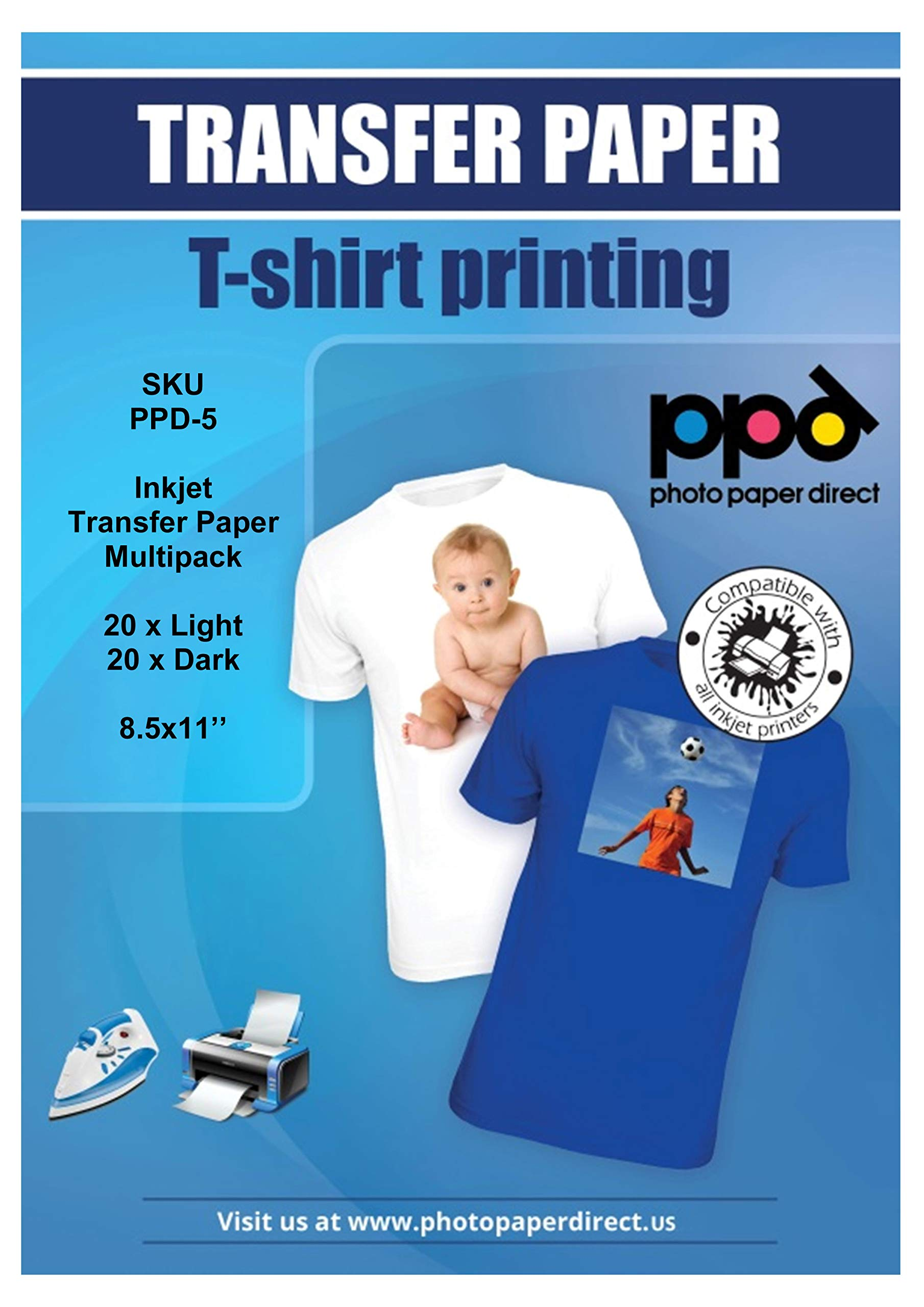 PPD Inkjet Iron-On Mixed Light and Dark Transfer Paper LTR 8.5 x 11'' Pack of 40 Sheets (PPD005-Mix)