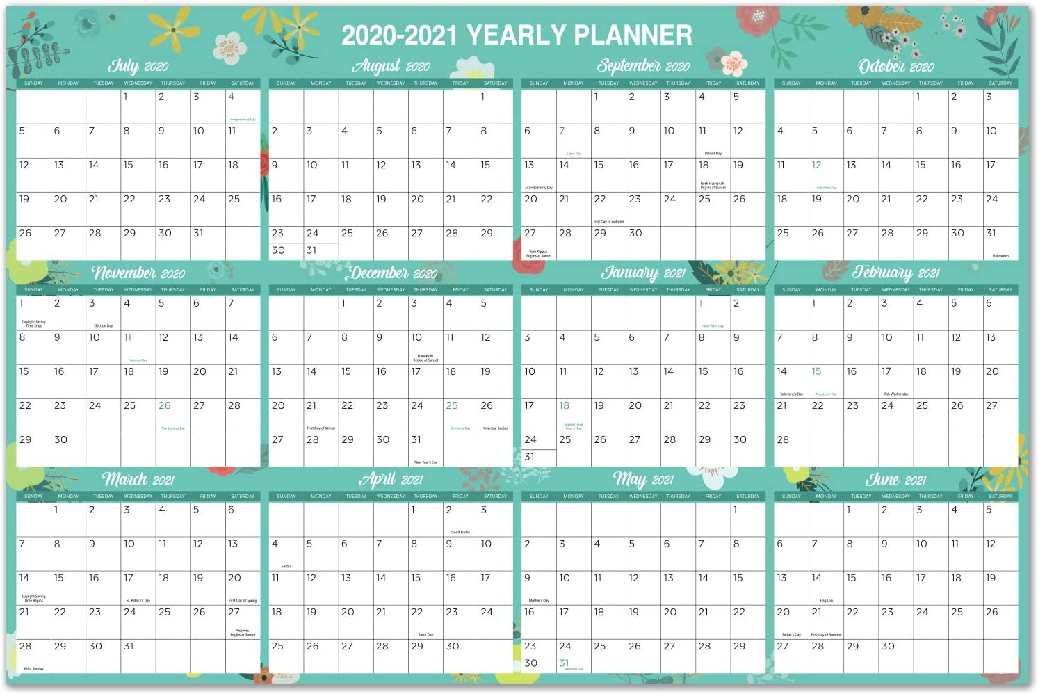 "2020-2021 Yearly Wall Calendar - 2020-2021 Academic Yearly Full Wall Calendar with Thicker Paper, July 2020 - June 2021, Bonus Pocket, 34.8"" x 23"", XLarge, Horizontal - Green Floral"