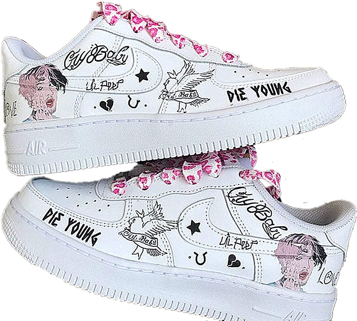 Reflexión Rafflesia Arnoldi famoso  Amazon.com: Lil Peep Theme Iron on Patches for Custom Nike Air Force 1  |Perfect Lil Peep Stickers for All Sizes AF1 Sneaker Custom Shoes: Shoes