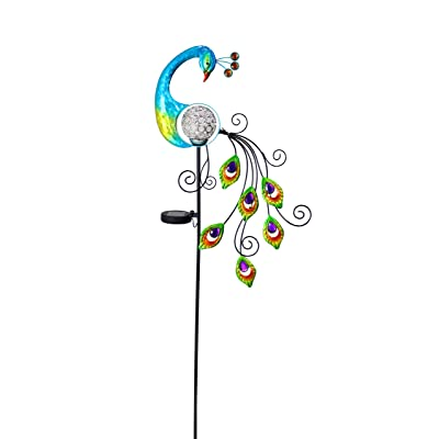 Alpine Corporation SKY116SLR-CC Solar Peacock w Changing LED Stake, 48 Inch Tall, Multi-Color : Garden & Outdoor