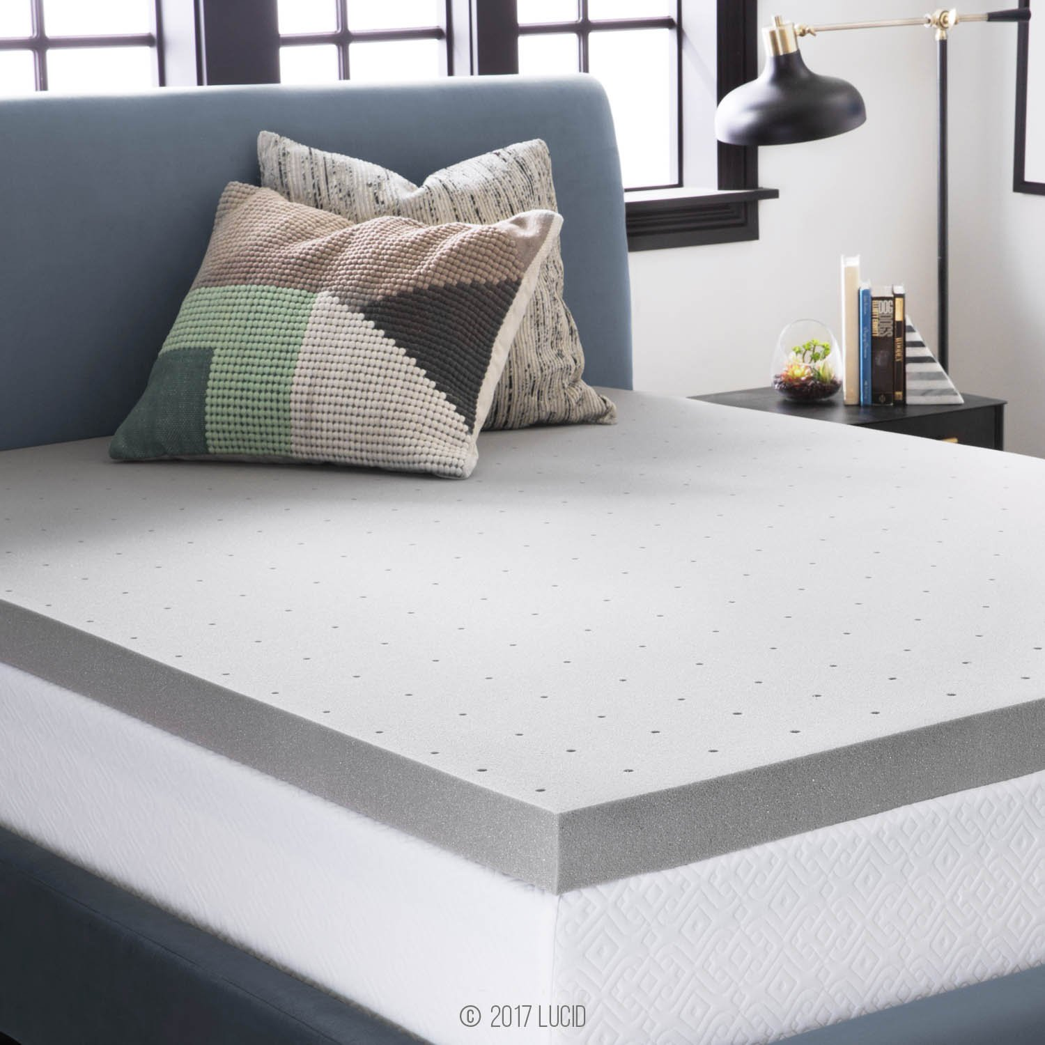 LUCID 3 Inch Bamboo Charcoal Memory Foam Mattress Topper - Queen by LUCID