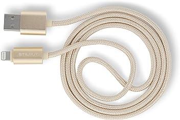 StilGut Magic Lightning cavo con indicatore LED per smartphone e Tablet Apple (1m), oro metallizzato