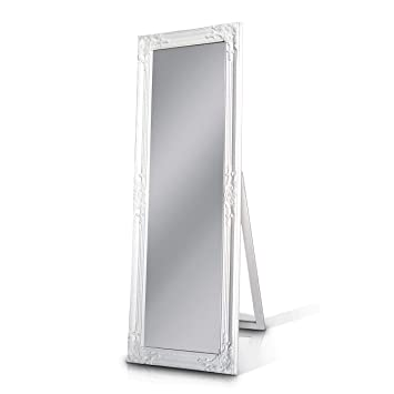 Rococo By Casa Chic Solid Wood Shabby Chic Full Length Mirror White 130x45 Centimetres Wall Mounted Or Free Standing Large