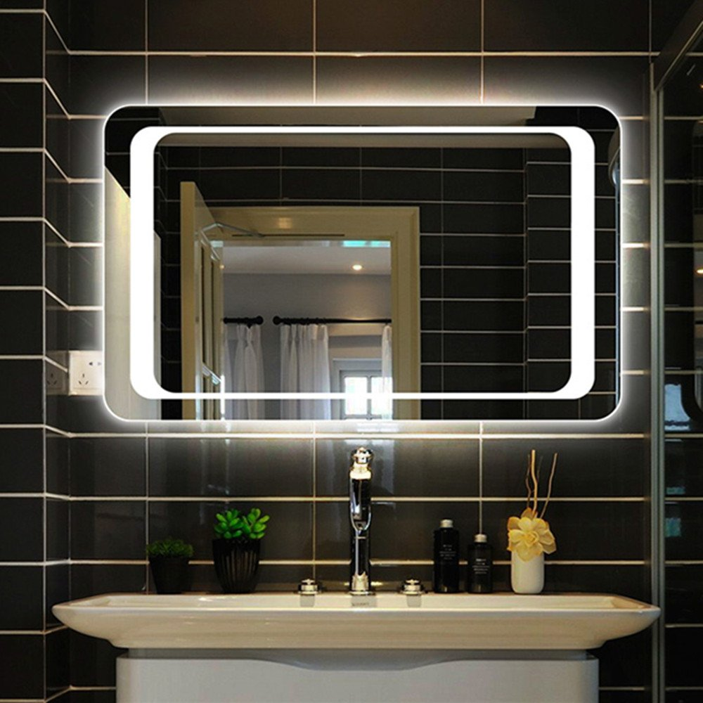 Panana 800 x 600mm LED Illuminated Rectangle Bathroom Wall Mounted Mirror with Light Sensor Switch Demister for Shaving Makeup