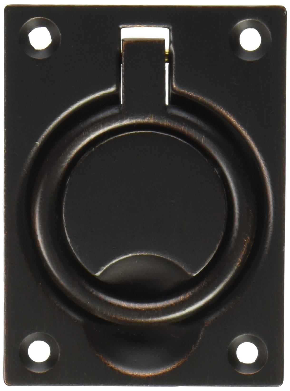 Baldwin 0395412 Flush Ring Pull, Distressed Aged Bronze
