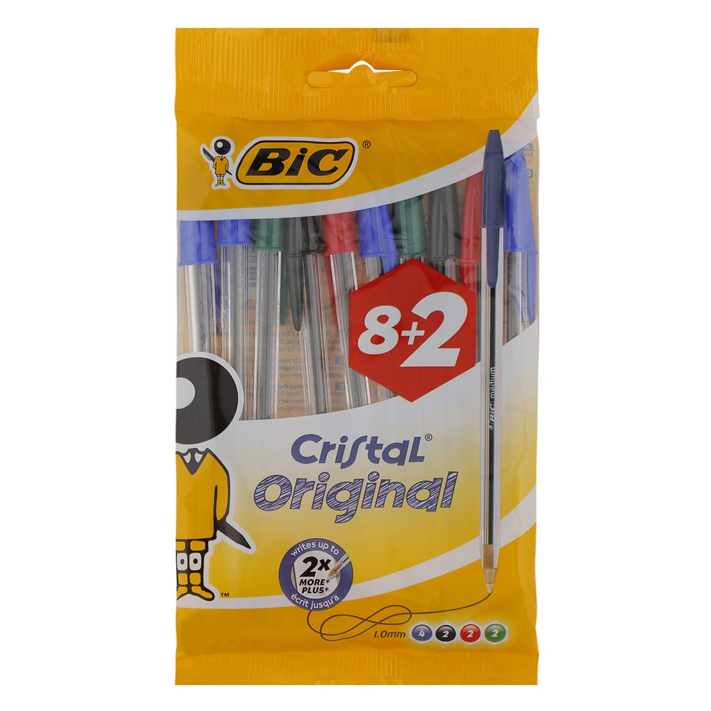 BIC Cristal Original Comfortable Ballpoint Pens Medium Point (1.0 mm) - Assorted Colours, Pack of 8+2 (10 Total)