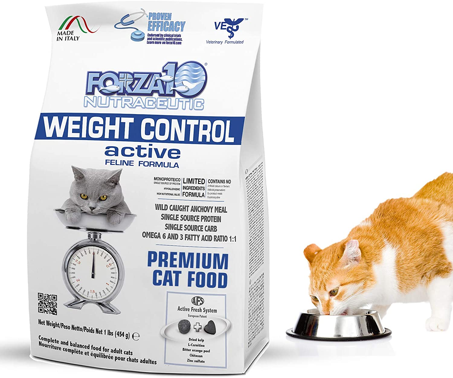 Forza10 Active Weight Control Dry Cat Food Adult 1 Pound Gluten Free Weight Loss Healthy Metabolism Natural Veterinarian Recommended No Prescription
