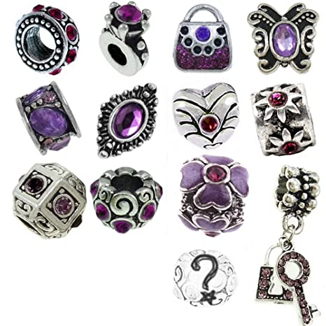 l'atteggiamento migliore 6443f 4764b Viola con perline e ciondoli per braccialetti Pandora ...