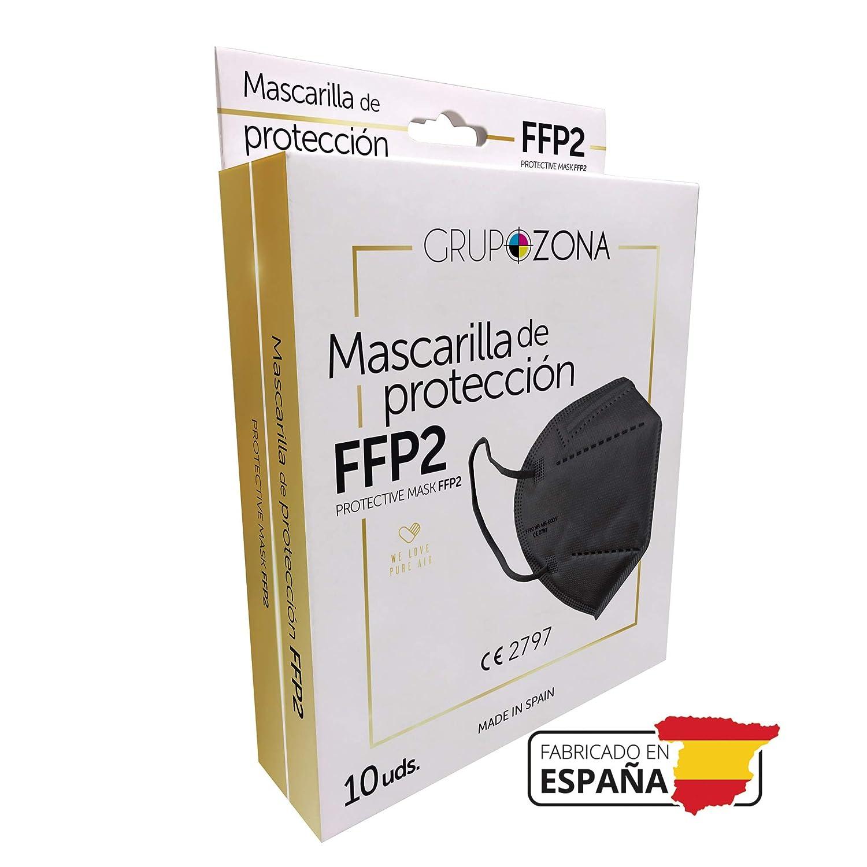 Mascarillas FFP2 negras homologadas y fabricadas en España CE 2797, filtrado de 5 capas - GrupoZona - Mascarilla ffp2 protección respiratoria
