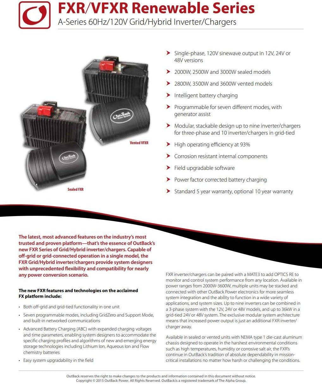 Outback Power VFXR Vented A Model 120V Grid//Hybrid Inverter//Chargers