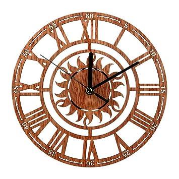 Mrzy Reloj de Pared Redondo Moderno Reloj de Madera Colgante Reloj de Sol en Forma de Novela con número Romano para la Tienda de la Oficina en el hogar: ...