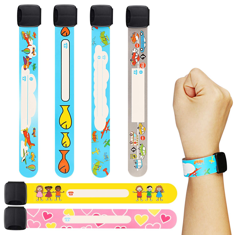 Pulsera Seguridad Niños, 6PCS Pulsera Niños Seguridad Reutilizable de la resistente de SOS Safety Wrist Band Waterproof ID pulsera para Niño Renfox