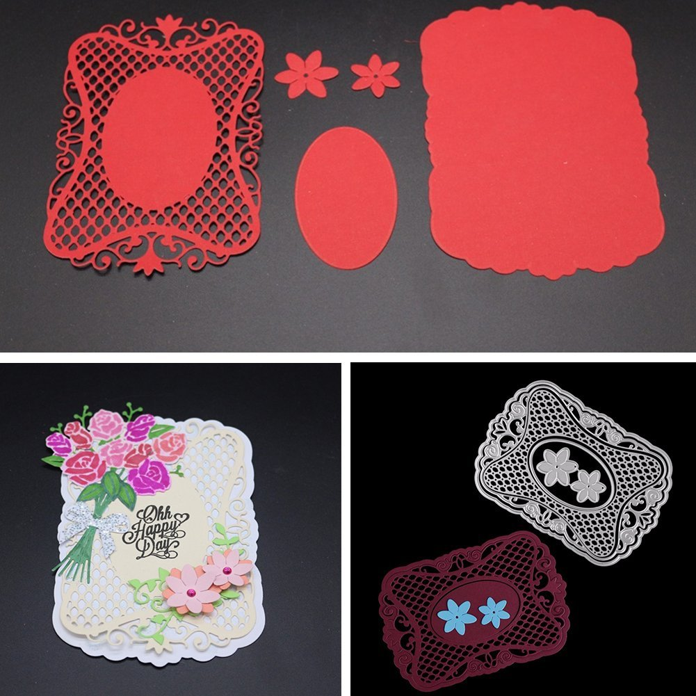 Potelin Premium Quality Rectangle Lace Background Metal Cutting Dies Handmade Stencils Template Embossing for Card Scrapbooking Craft Paper Decor