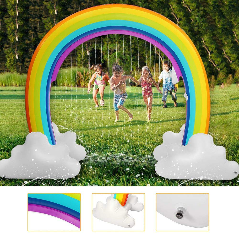 Inflatable Rainbow Yard Summer Sprinkler Toy, Over 6'' Long Outdoor Lawn Rainbow Arch Water Spray Toy for Kid Child Adult Games (Multicolored) by Trevoz