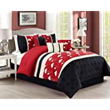 Chezmoi Collection Sophia 7-piece Chenille Poppy Flowers Pleated Embroidery Floral Bedding Comforter Set (Queen, Burgundy Red)