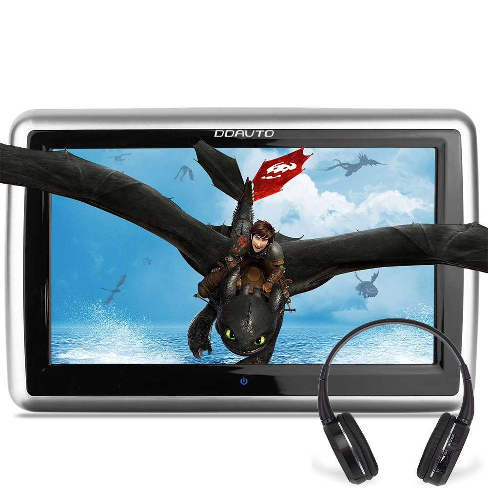 DDAUTO Car Headrest DVD Player 10.1 Inch Touch Screen 1080P Multimedia Monitor with Suction Drive Supports CPRM DVD SD USB