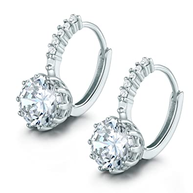 MASOP Charming Huggie Hoop Earrings for Women 925 Sterling Silver with Colorful Cushion Cut CZ Birthstone Drop 8alh93P