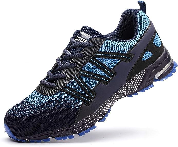 Oferta amazon: Zapatos de Seguridad para Hombre con Puntera de Acero Zapatillas de Seguridad Trabajo, Calzado de Industrial y Deportiva Negro 39-46EU Talla 43 EU