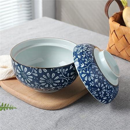 Tazón de sopa de cerámica con tapa y mango Cuenco de fideos ...