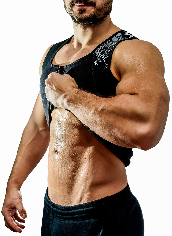 Fitzone Sweat Vest, Fat Burner Up to 3 Times Faster for Weightloss Neoprene Sauna Waist Trainer Vest with Zipper Sweat Vest for Men, Body Shaper, Slimming Vest