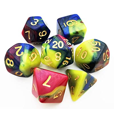 HAOMEJA Colorful Dice D&D 7 Set 7pcs Polyhedral Dice for Dungeons and Dragons DND 7 Solid Dice D&D Pathfinder Roll Playing Games Dice (Blue Yellow Powder): Sports & Outdoors