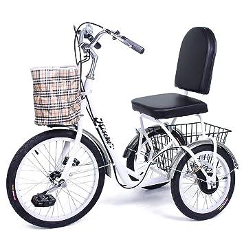 Riscko Triciclo Adulto con Dos cestas Tres Ruedas Modelo Park (Blanco)