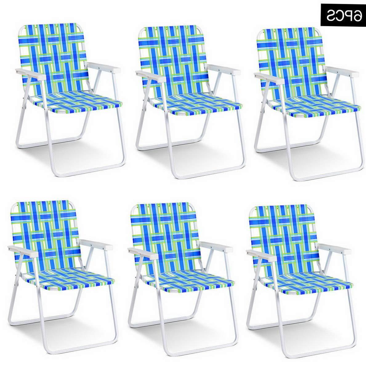 Kaputar 6pcs Folding Beach Chair Camping Lawn Webbing Chair Lightweight 1 Position Blue | Model CMPNGCHR - 160