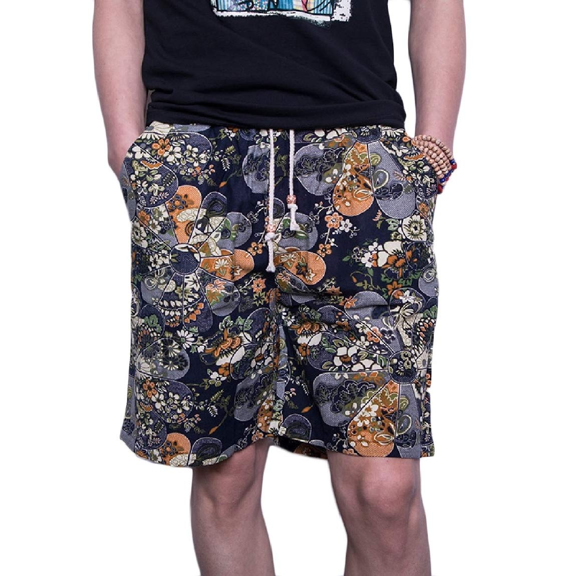 Mfasica Mens Quick Dry Linen Floral Spring Oversize Beach Shorts