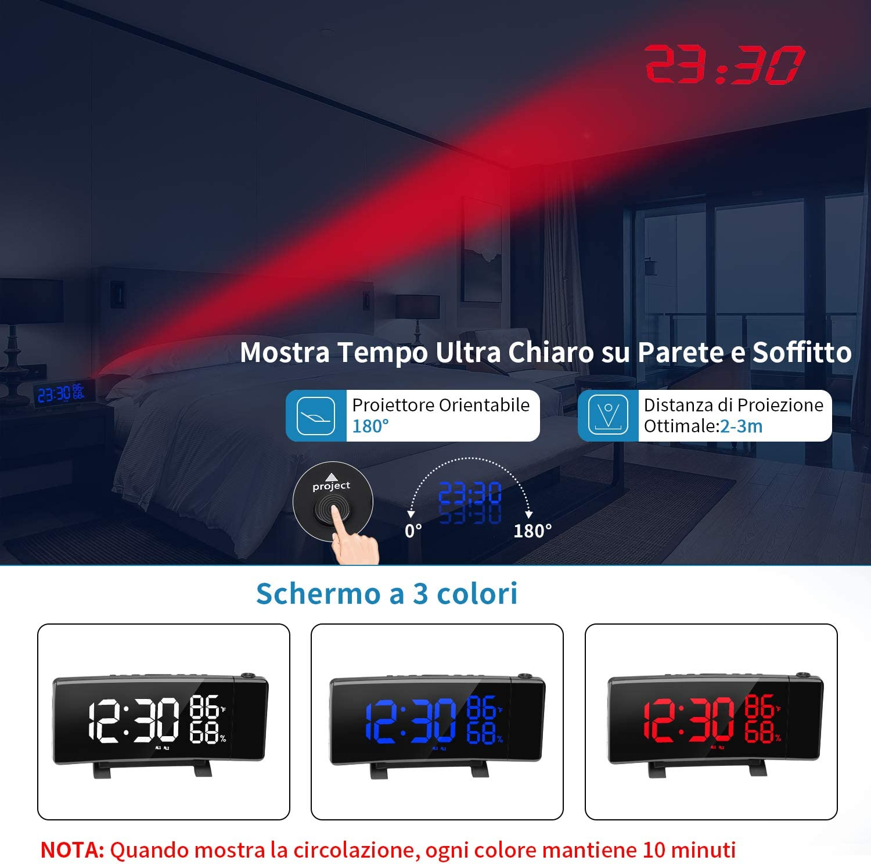 Peyu doble alarma pantalla LED despertador de proyector de techo con 2 puertos USB Sleep Timer Funci/ón Snooze 3 brillos 12//24 h Despertador digital para mesilla de noche