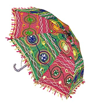 Lal Haveli Round Shape Embroidery Work Cotton Umbrella Decorations for Party 21 x 26 inches