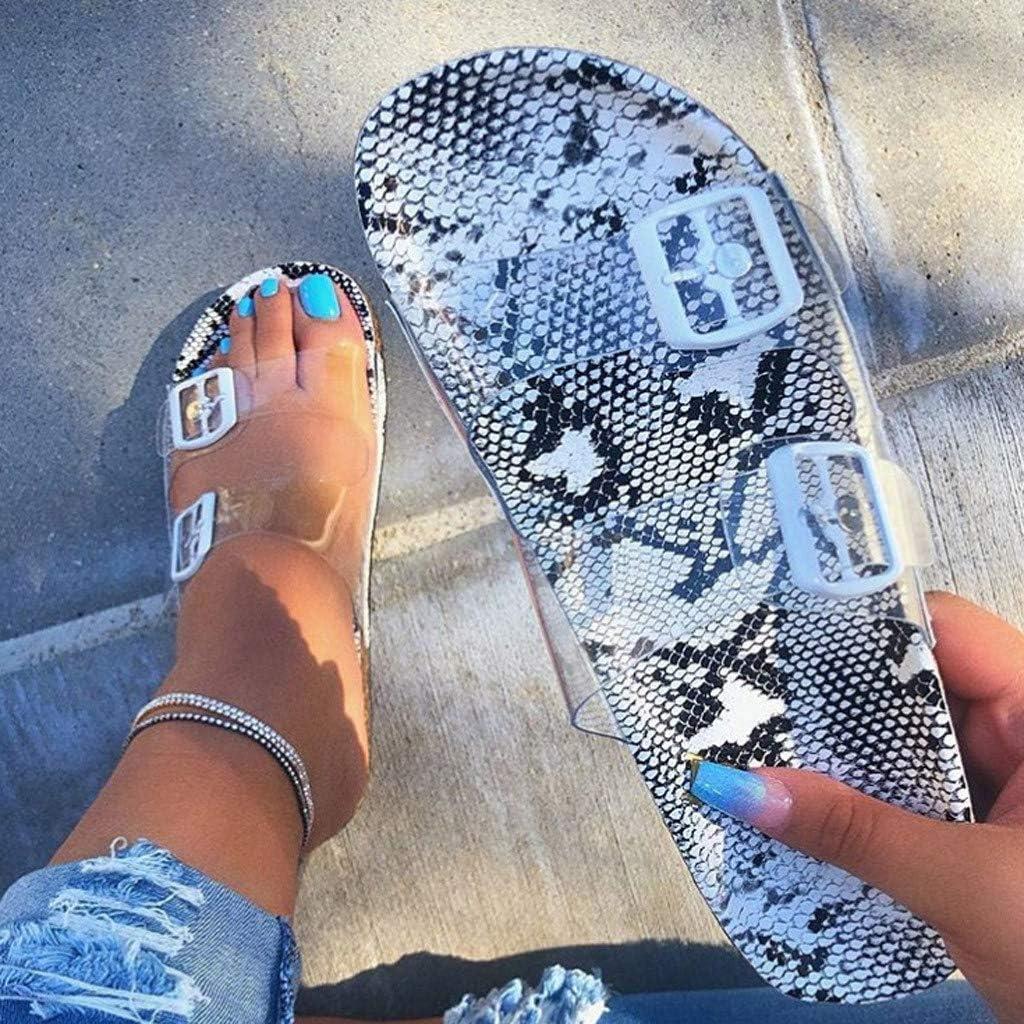 BIKETAFUWY Womens Snakeskin Sandals for Women Open Toe Flats Slippers Snake Print Light Single Shoe Anti-Slip Shoes