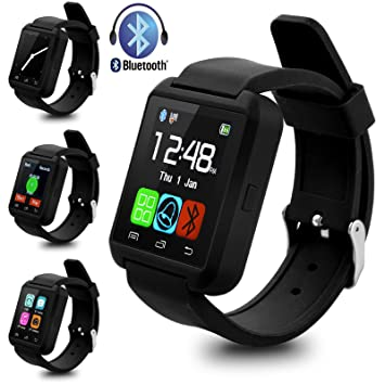 Swees U8 Bluetooth Smart Watch Inteligente Reloj Teléfono Compañero para Android IOS Iphone Samsung Galaxy HTC,Sony (Negro)