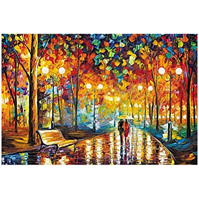 oenbopo Jigsaw Puzzles, 1000 Pieces Wooden Puzzles Rainy Night Walk Decompression Toy for Adults Kids DIY Home Decor: Toys & Games