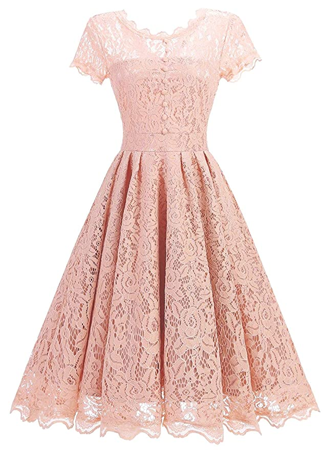 Vintage Christmas Gift Ideas for Women Tecrio Women Elegant Vintage Floral Lace Capshoulder Cocktail Party Swing Dress $28.84 AT vintagedancer.com