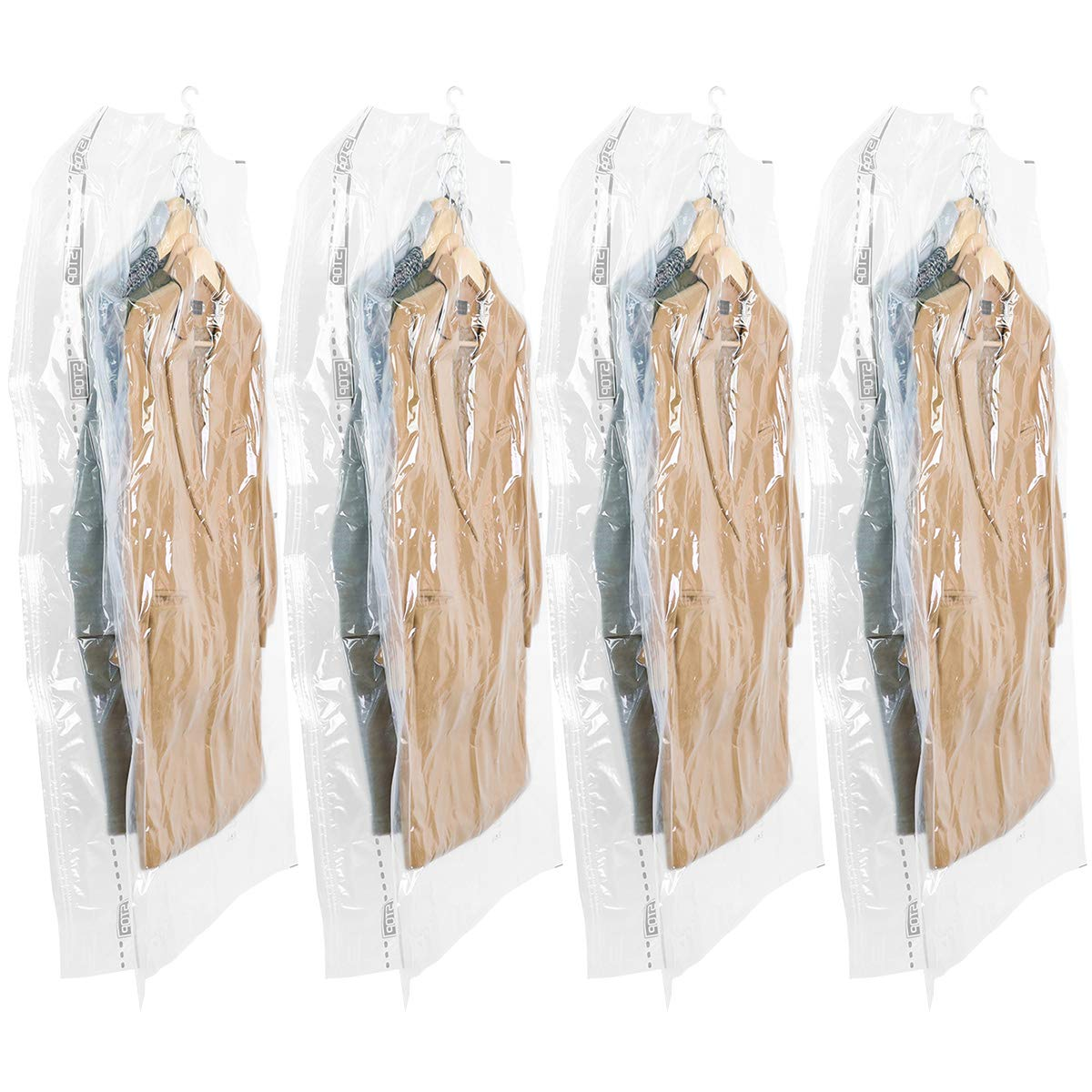 TAILI Hanging Vacuum Wide-Side Space Saver Bags, Set of 4 Long Size (53x27.6x15 inch), Vacuum Seal Storage Bag Clear Bags for Clothes Suits, Dress or Jackets, Closet Organizer by TAILI